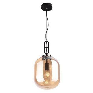 Stylowa lampa wisząca Honey - bursztynowy klosz