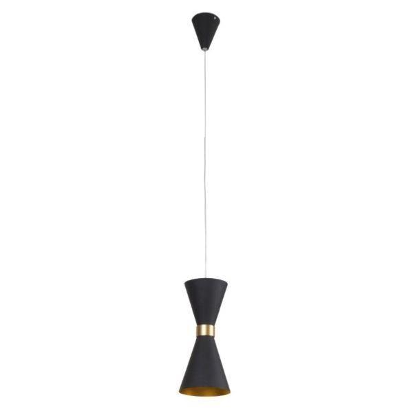 Czarna lampa wisząca Cornet - LED, metalowa