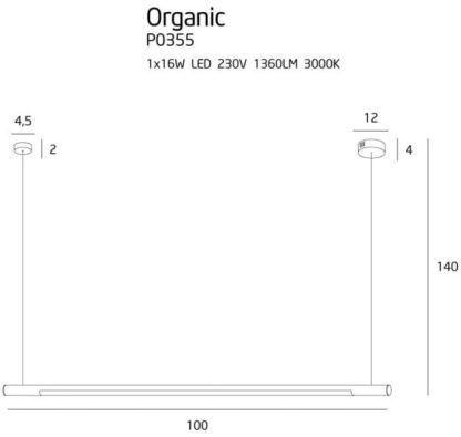 Ledowa lampa wisząca Organic - biała, ściemnialna