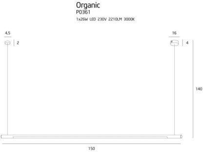 Czarna lampa wisząca Organic - podłużny klosz, LED