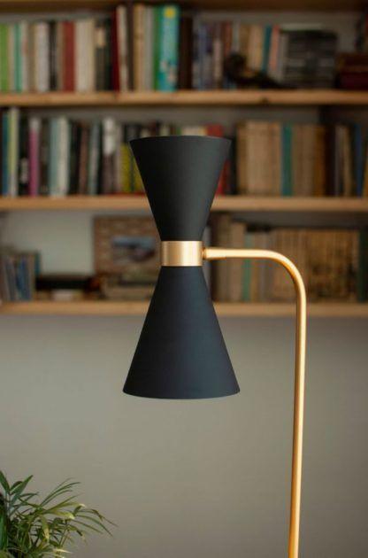 czarna lampa biurkowa złote detale