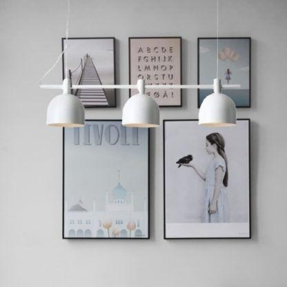 biała lampa wisząca - podłużna - 3 żarówki do pokoju