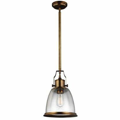 Lampa wisząca Hobson - szklana, stary mosiądz