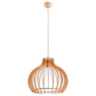 Okrągła lampa wisząca Lavaya - drewniana