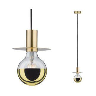 Lampa wisząca Stian - złota oprawka, ozdobny dysk