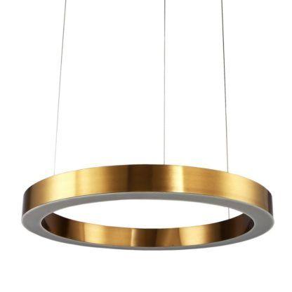 złota lampa wisząca ring led