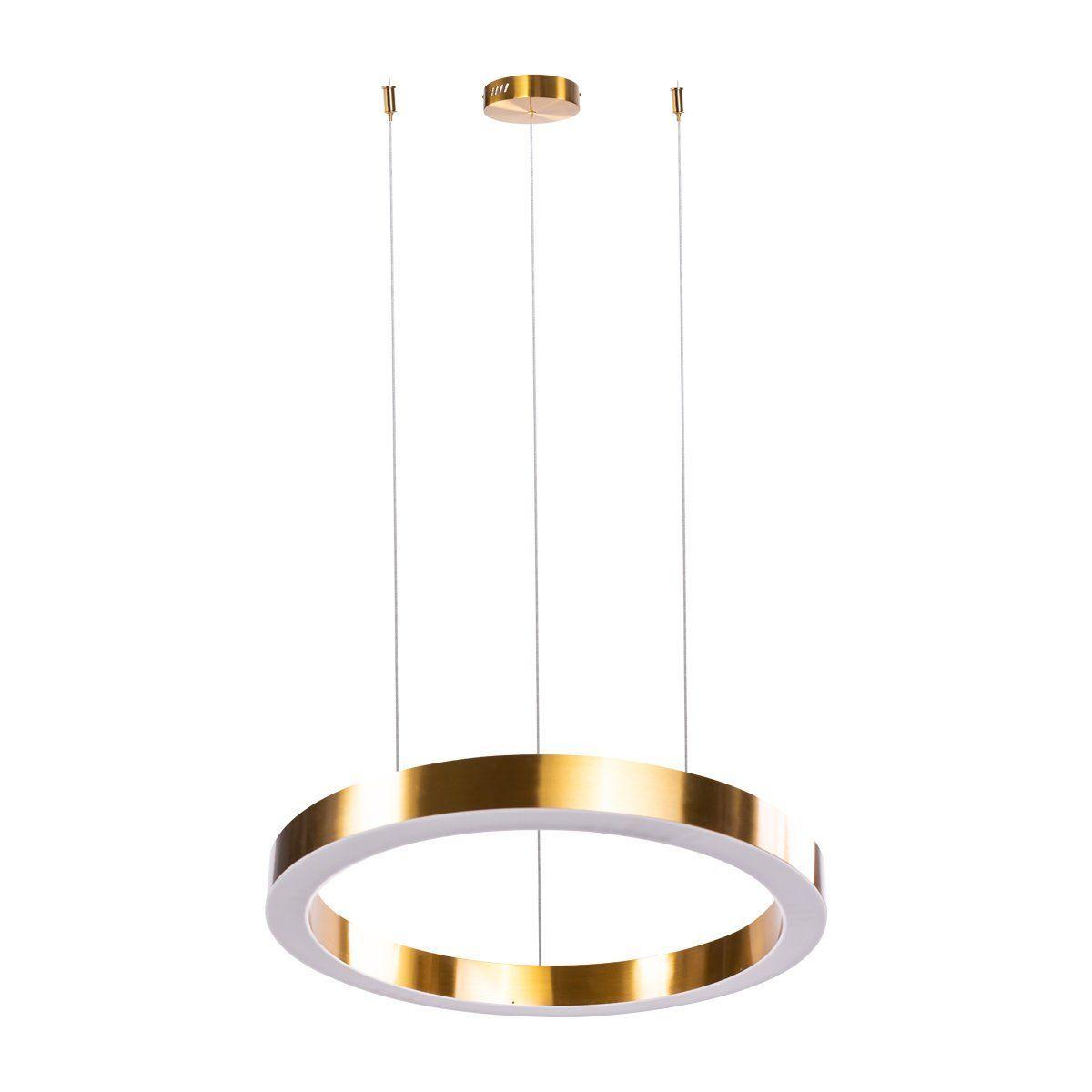 okrągła lampa wisząca led ring złota