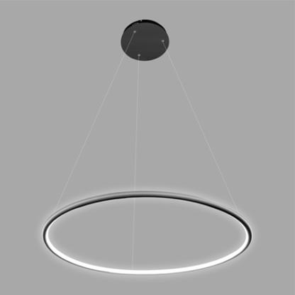 czarna lampa wisząca okręg led