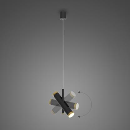 czarna lampa wisząca z reflektorem
