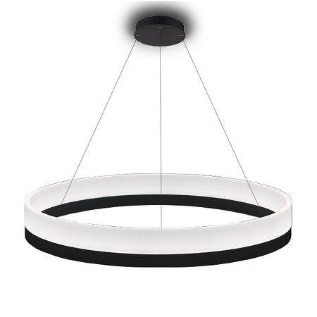 okrągła czarna lampa wisząca led