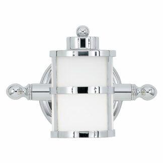 Srebrny kinkiet Bay - szklany klosz, IP44