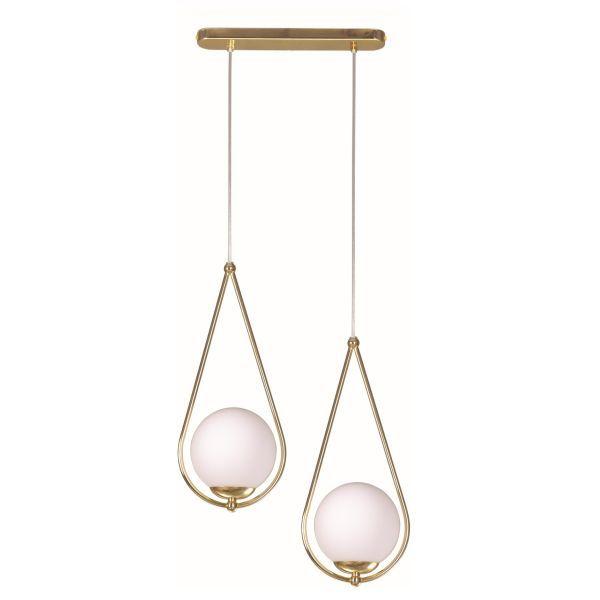 podwójna złota lampa wisząca z mlecznymi kloszami