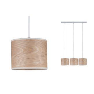 Lampa wisząca Neordic Neta - drewno, 3 klosze