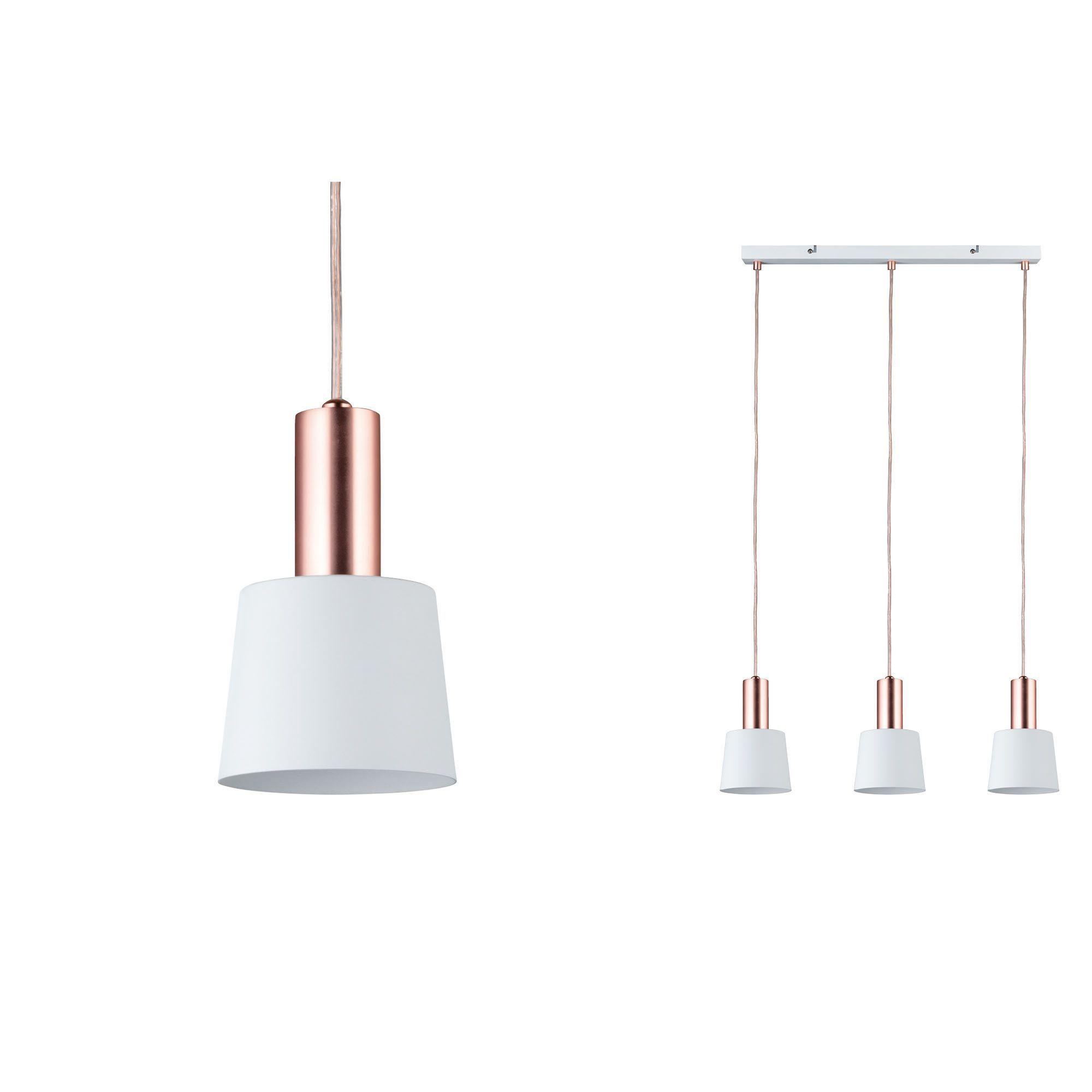 biała lampa wisząca miedziane elementy