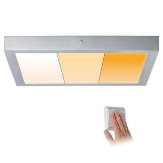 Kwadratowy plafon Carpo - chrom, LED, 2300K-3000K