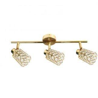 Złota lampa sufitowa York - podłużna, 3 klosze