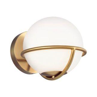 Złoty kinkiet Apollo - szklany klosz