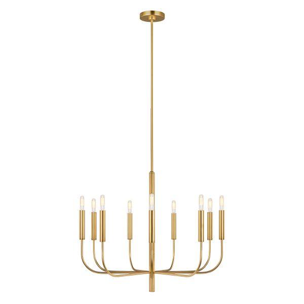 złoty żyrandol świecznikowy nad stół aranżacja