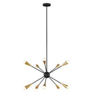 Czarno-złoty żyrandol Jax - 10-ramienny