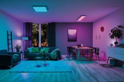 kolorowe światło w salonie aranżacja