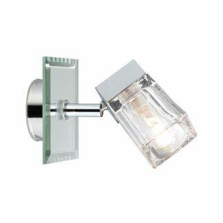Srebrny kinkiet Trabani - IP44, chrom, szkło