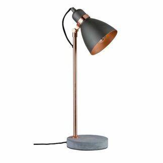 Lampa biurkowa Neordic Orm - miedziany środek, betonowa podstawa