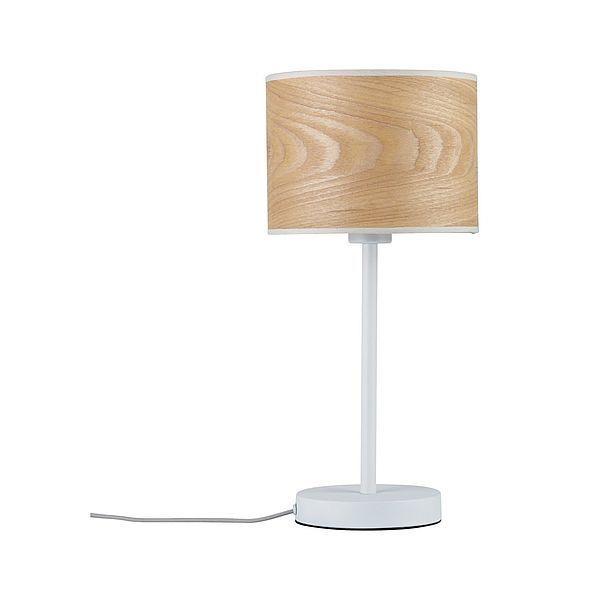 lampa stołowa z drewnianym kloszem