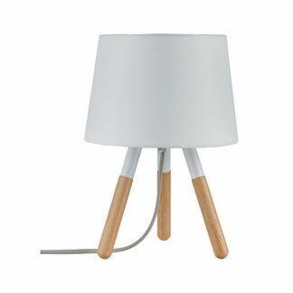 Lampa stołowa Neordic Berit - drewniana, biały abażur