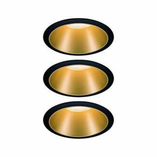 Oczko sufitowe Cole Coin – LED, czarno-złote, zestaw 3 szt