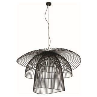 Lampa wisząca Plaza - czarna, druciane klosze