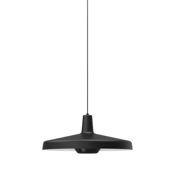 czarna lampa wisząca płaski klosz różne rozmiary
