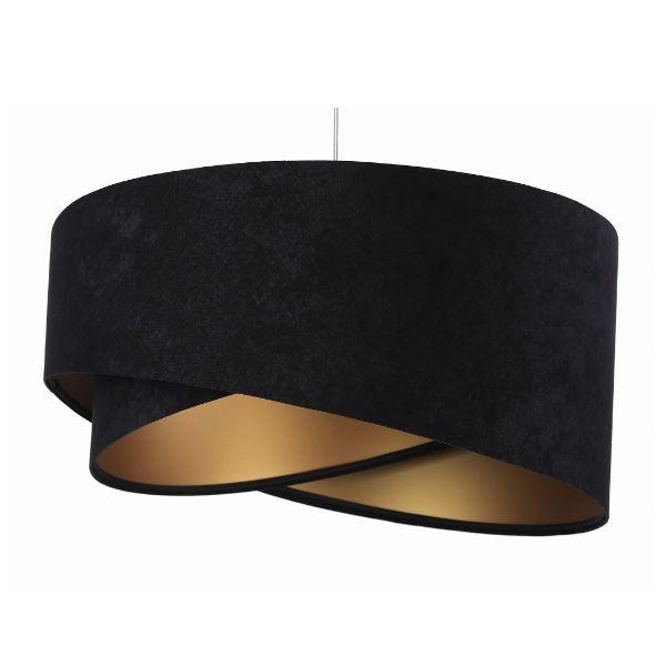 czarna lampa wisząca welurowy abażur