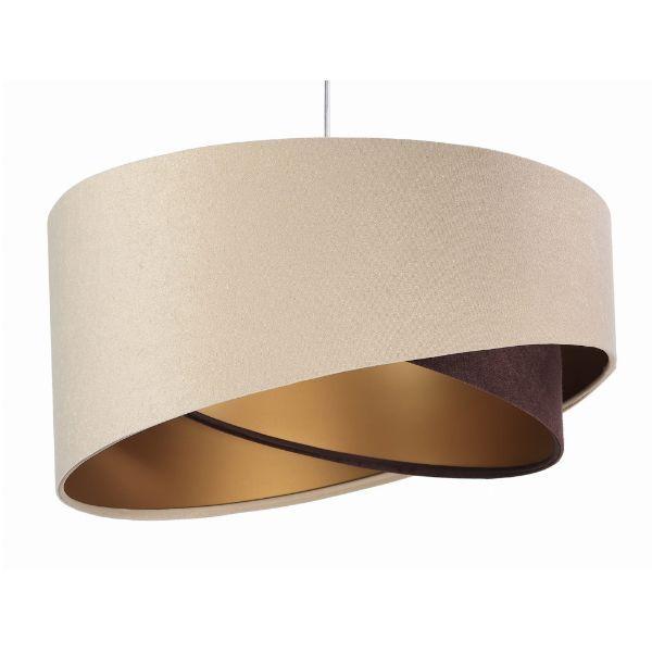 beżowo-brązowa lampa wisząca welur