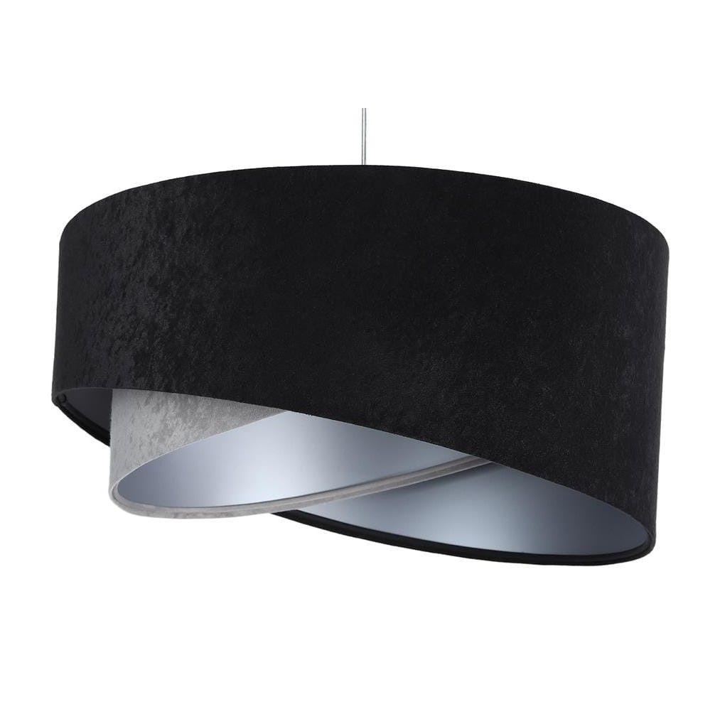 welurowa lampa wisząca czarny abażur