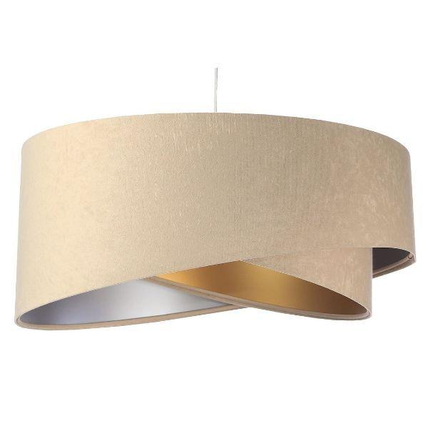 beż i złoto welurowa lampa wisząca