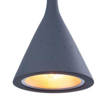 lampa wisząca ze stożkowym szarym kloszem ze strukturą