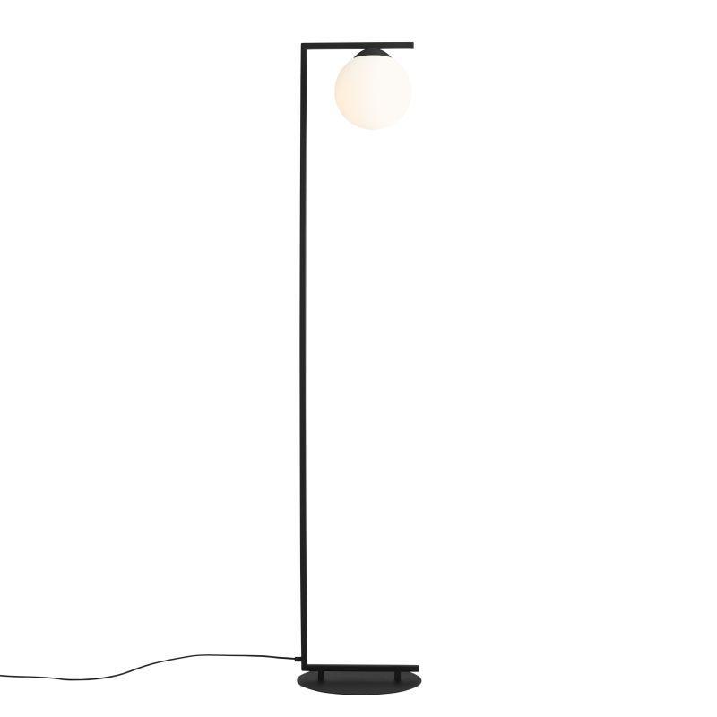 Czarna lampa podłogowa Zac - szklany klosz na dole