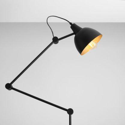 Czarna lampa podłogowa Aida - regulowana, złoty środek