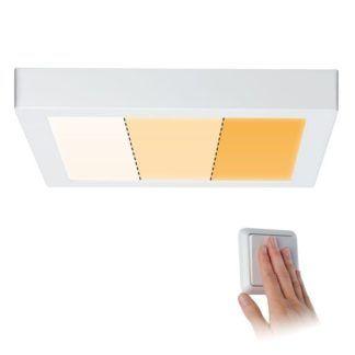 Biały plafon Carpo M - zintegrowany LED, 3 kolory światła