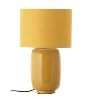 Żółta lampa stołowa Cadiz - ceramika, bawełna