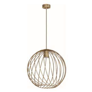 Złota lampa wisząca Modena - kula, patyna
