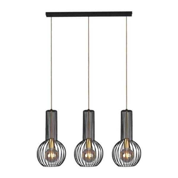 lampa wisząca na 3 klosze druciana czarna
