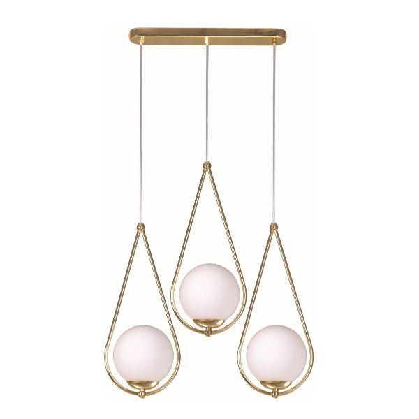 złota lampa wisząca mleczne klosze ze szkła