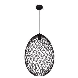 OUTLET Czarna lampa wisząca Piers - druciany klosz
