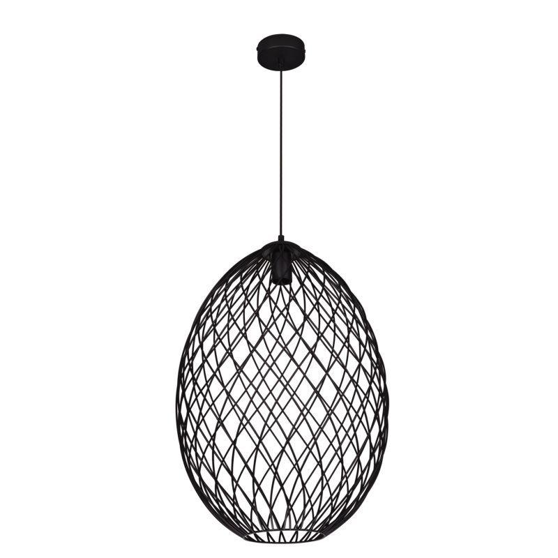 srebrna druciana lampa wisząca owalna