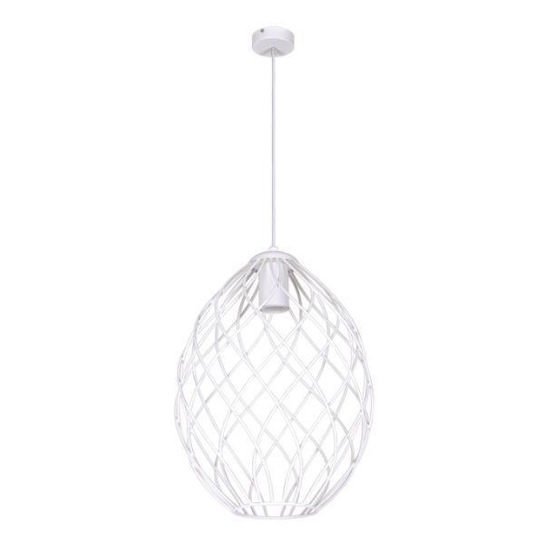 biała lampa wisząca okrągły druciak