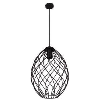 Czarna lampa wisząca Piers - druciany klosz