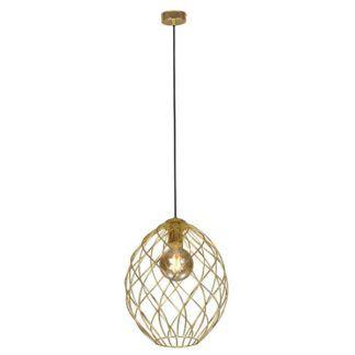 Złota lampa wisząca Krom - druciany klosz