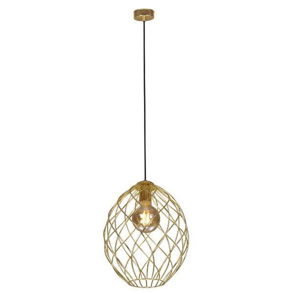 złota lampa wisząca druciany klosz