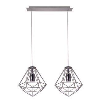 Srebrna lampa wisząca Silver - druciane klosze